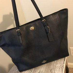 Coach Navy Crossgrain Leather Baby Bag Style 36469